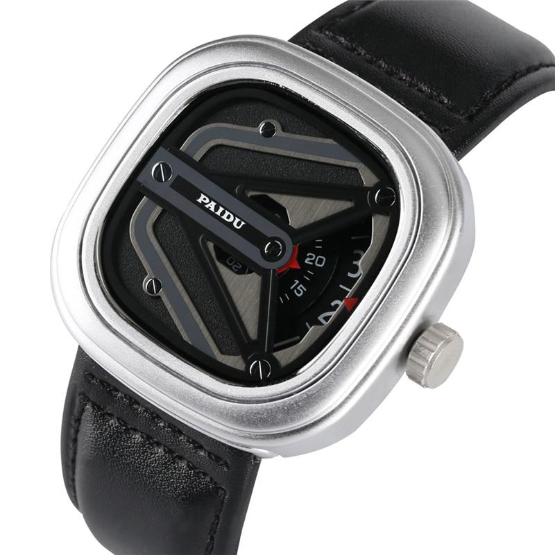 Timekeeper Creative Watch Case Quartz Watch Movement For Men Women High-tech Sense Analog Wrist Watches Leather Watch Band Clock