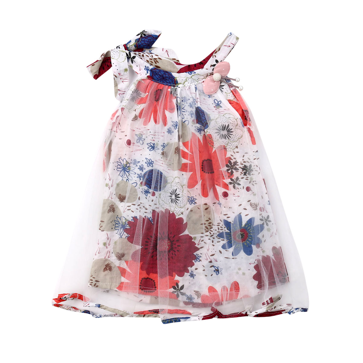 Pudcoco Dress Floral Newborn Baby-Girls Princess Party Sleeveless Pageant title=