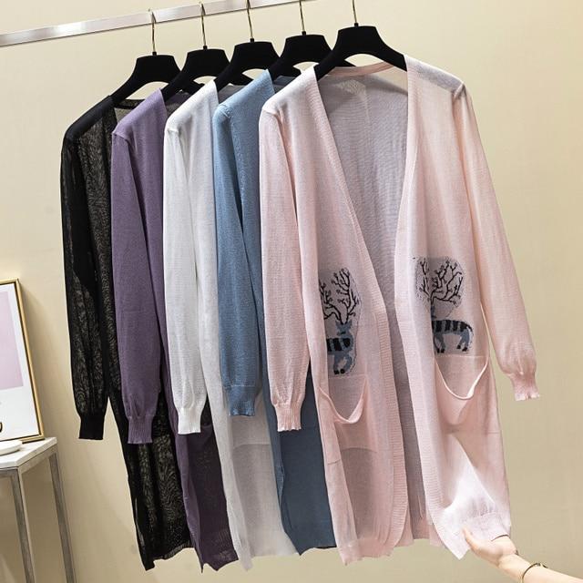 Animal Printed Long Cardigan Women Summer 2019 Korean Casual Pockets Sun-proof Ice Silk Lantern Sleeve Knitted Cardigan feminino