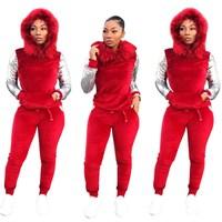 Winter Warm Velvet Two Piece Set Women Sweatsuit Hoodies Tops Pant 2 Piece Velour Tracksuit Sequin Sleeve Outfits