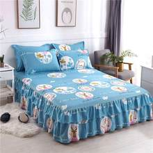 NEW 150/180*200cm Printed Non-Slip Bed Skirt Thickened Plant Cashmere Twill Sanding Double-Layer Queen Size Chandler Bed Cover(China)