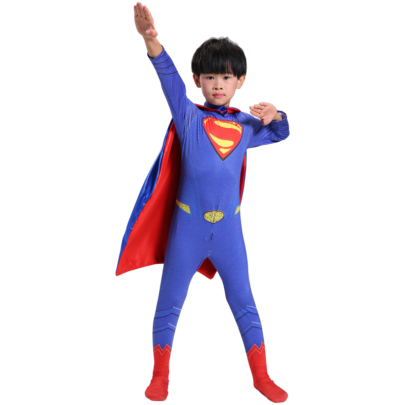 Kids Superman Costume Child Cosplay Boys Superhero Costume For Kids Halloween Costume For Kids Carnival Party Children Jumpsuit