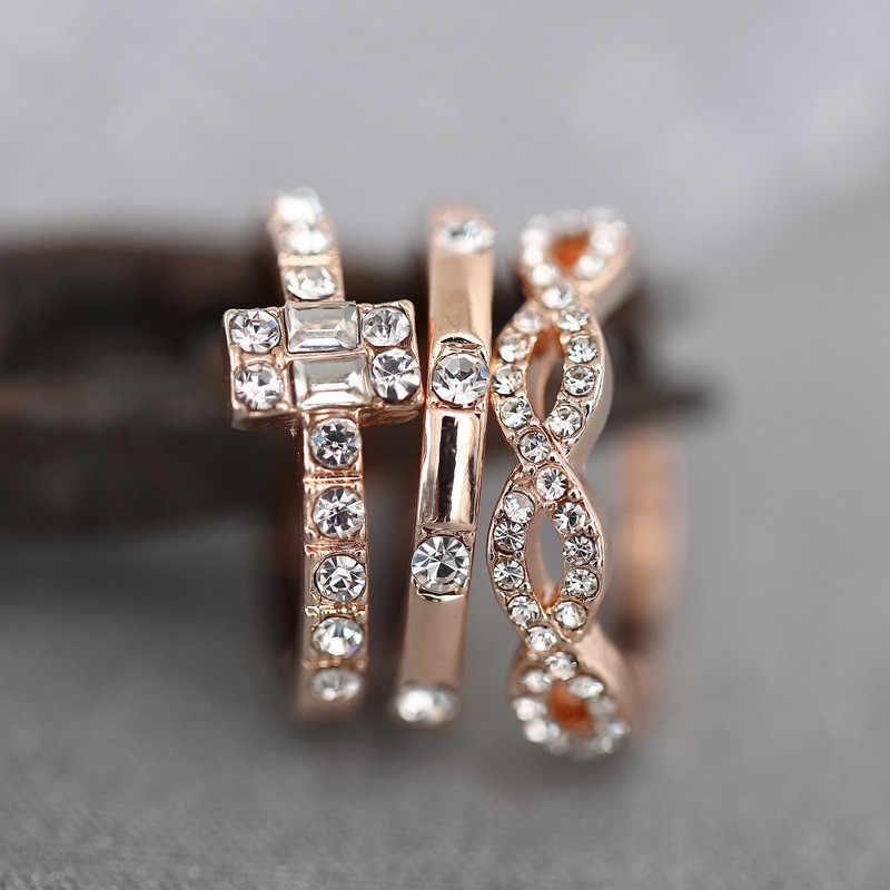 3 Pcs ชุดแหวนคริสตัลสำหรับผู้หญิงเครื่องประดับคริสตัลแหวน Rose Gold แหวนสำหรับผู้หญิงงานแต่งงานสัญญาแหวน Femal