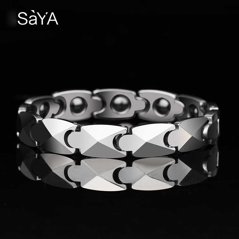 New Arrival Saya Brand High Polished Tungsten Man's Fashion Bracelets 20.5CM Length Silver/Gold Plating Two Tones Free Gift Box
