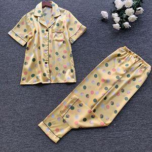Image 3 - 2019 wiosna kobiety śliczne zestawy piżam z spodnie Satin Pijama kwiat drukuj piżama Nightsuit jedwabna bielizna nocna Pijama Homewear
