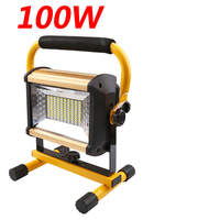 10PC 3 Color Rechargeable 100W Portable LED Floodlight Work Light 100 LED Spot Flood Light Working Camping Lamp Outdoor Lighting