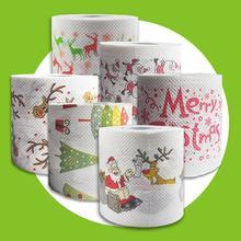 4 צבעים חג המולד הדפסת נייר טואלט רקמות חידוש טואלט גליל נייר חג המולד קישוט לבית סיטונאי