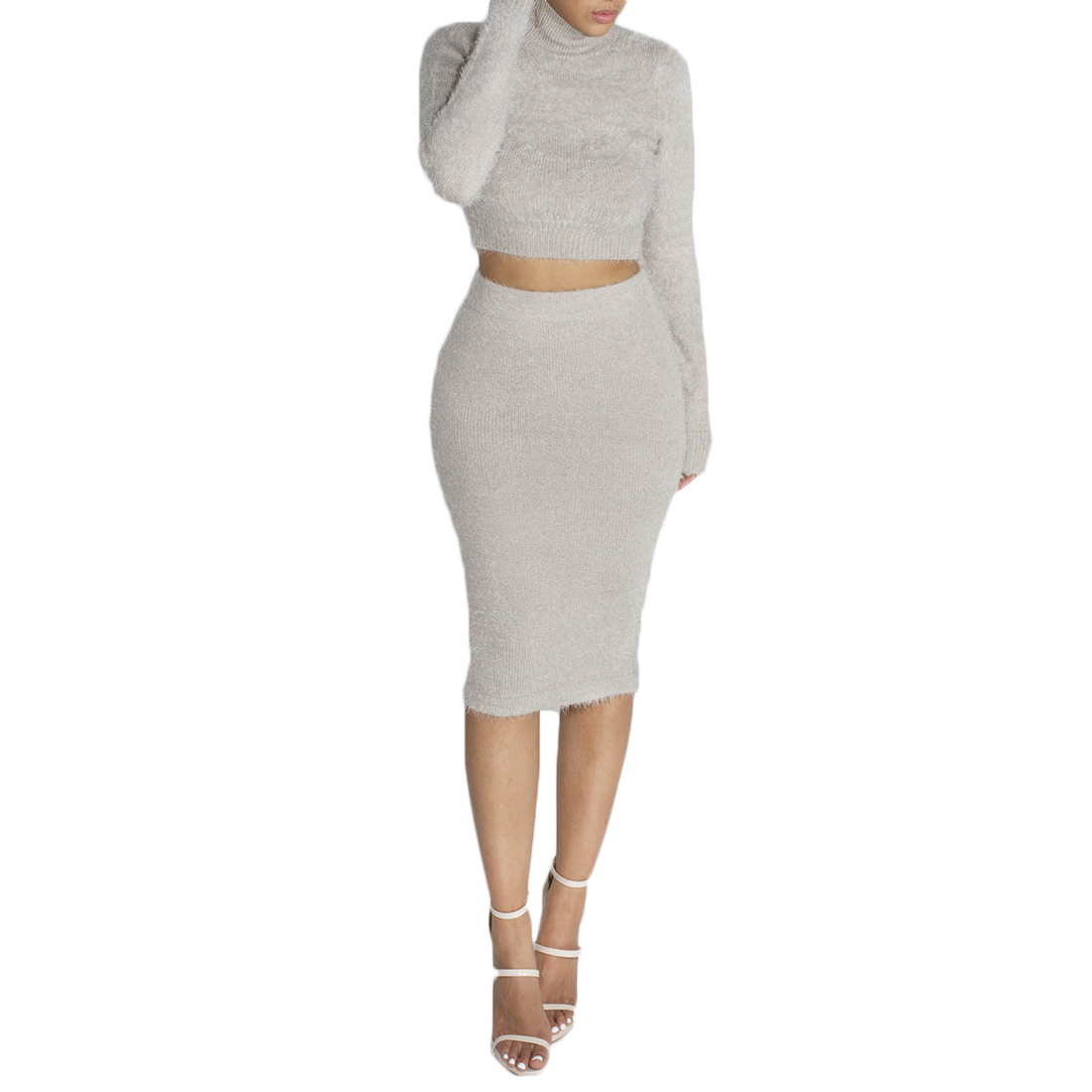 Two Piece Set Women's Sexy Sweater Suits 2 Pcs Pink Long Sleeve Turtleneck Pullover Short Sweater And Mid-Calf Skirt Party Dress