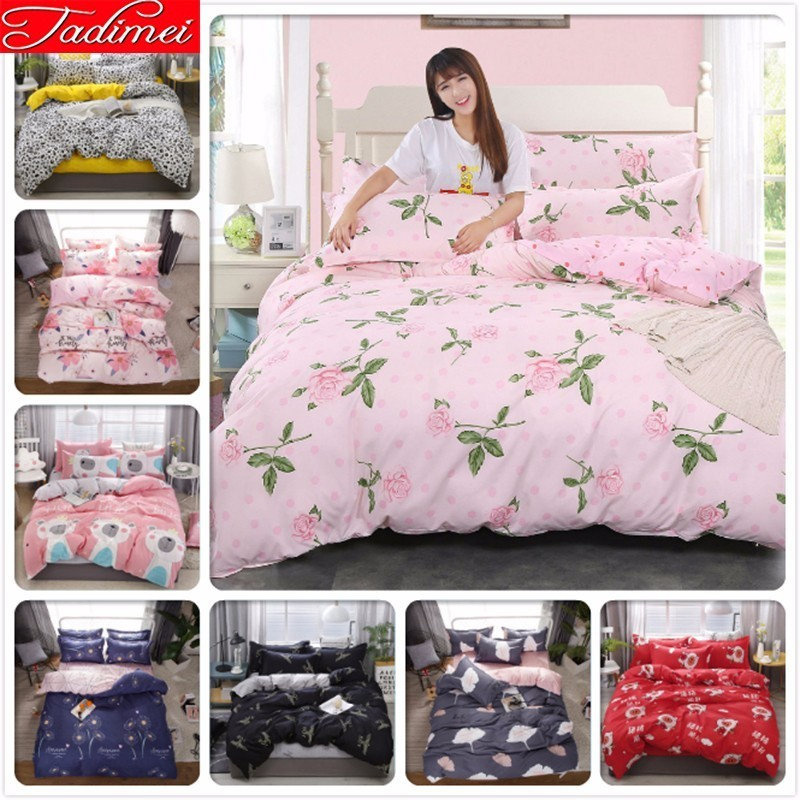 3/4 Pcs Bedding Set Adult Kids Soft Cotton Duvet Cover Bed Sheet Pillow Case Bed Linen Single Full Queen King Big Size Bedspread