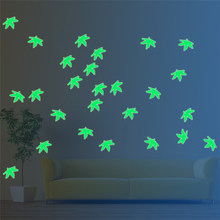 18/26pcs/pack DIY Creative Glawing Wall Stickers PVC Leaves Dinosaur Luminous Wallpaper Window Decal For Christmas Home Decor(China)