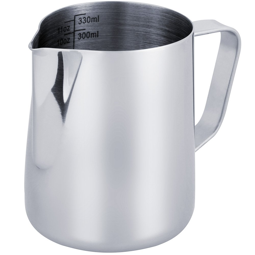 Milk Jug 350Ml/12 Fl.Oz, 304 Stainless Steel Milk Pitcher, Milk Frothing Jug For Making Coffee Cappuccino