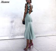 2018 New Fashion Summer Women Sexy Trumpet Elegant Bodycon Party Dress Solid Ruffles Backless Fishtail Maxi Mermaid Xnxee