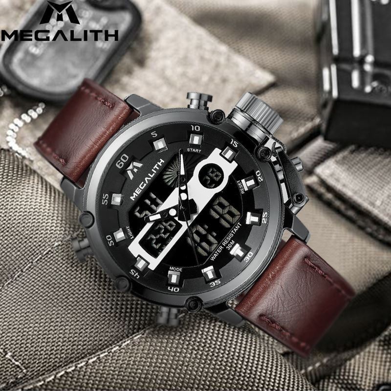 MEGALITH Mens Watch Fashion Mens LED Quartz Waterproof Date Military Sport Multifunction Wrist Watches Clock Horloges MannenMEGALITH Mens Watch Fashion Mens LED Quartz Waterproof Date Military Sport Multifunction Wrist Watches Clock Horloges Mannen