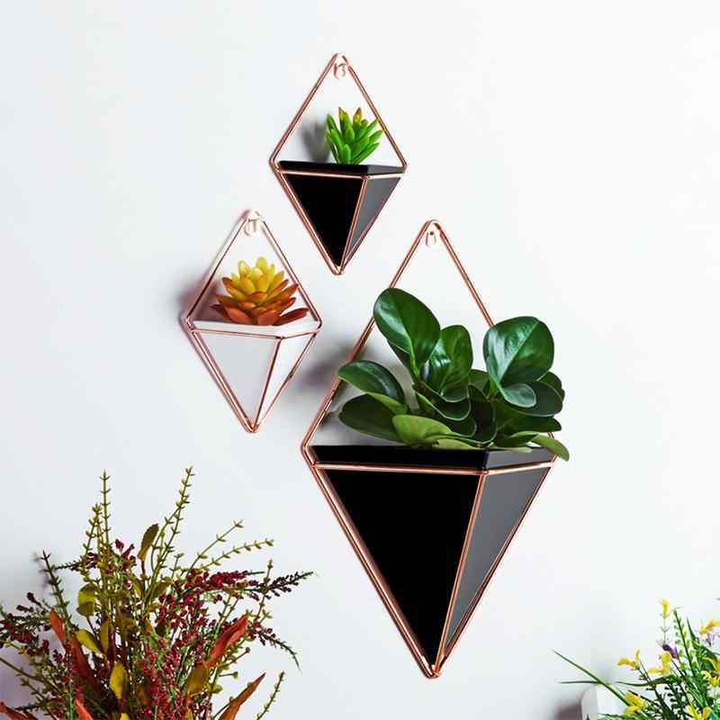 Geometric Flower Pot Iron Plant Holders Set Indoor Hanging Planter Vase Wall Decor Container