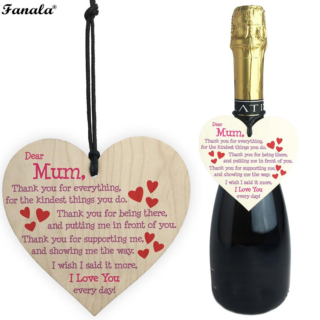 dear mum diy wooden heart plaque wine tags hanging signs decor