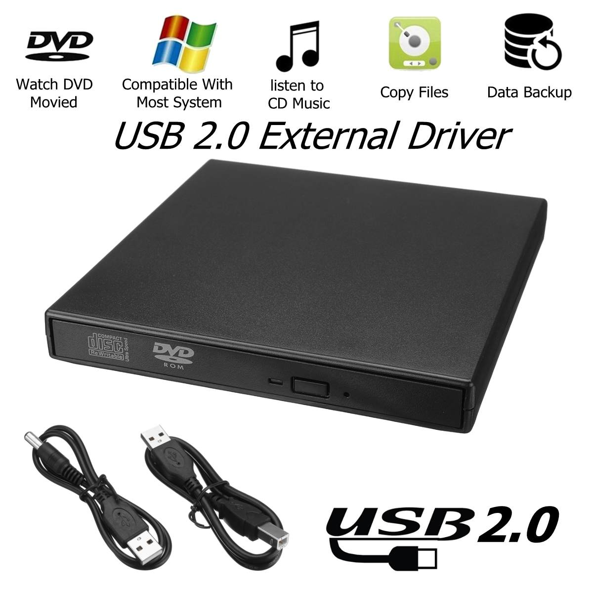 External USB2.0 RW CD Writer Slim Drive Burner DVD Reader Player Optical Drives For PC LaptopExternal USB2.0 RW CD Writer Slim Drive Burner DVD Reader Player Optical Drives For PC Laptop
