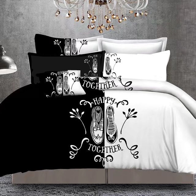 Bed Linen Bedding-Sets Duvet-Cover Couples Her-Side Double-Bed Black White 4 Set5 3pcs/4pcs