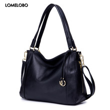 Lomelobo Women Genuine Leather Shoulder Bags Luxury Lady Fashion Litchi Pattern Casual Tote Female Handbags Girls Messenger Bags(China)