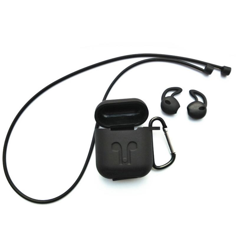 Image 2 - Silicone Soft Protective Case Wireless Bluetooth Earphones Cover Lanyard Anti drop Dust proof Portable Mini Bag For Airpods-in Earphone Accessories from Consumer Electronics