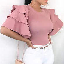 2018 Womens Short Sleeve Blouse Peplum Summer Tops Ladies Long Office Shirts Plus Size Ruffle Blouse Femme(China)