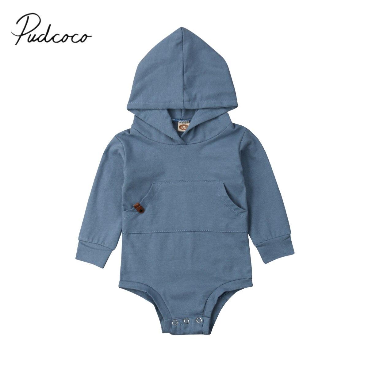 2019 Brand Nieuwe Pasgeboren Baby Baby Jongens Meisje Hooded Bodysuits Lange Mouwen Effen Blauw Jumpsuit Causale Lente Herfst Kleding 0 -24 M Nieuwste Technologie