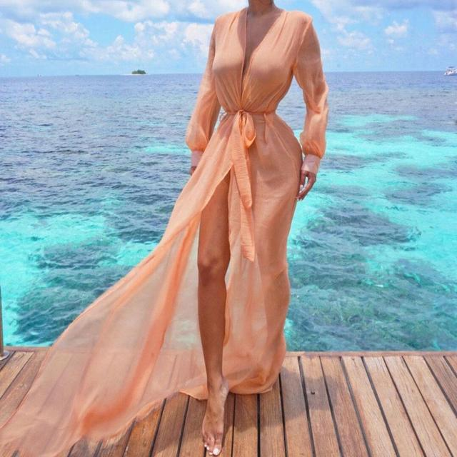 Women Summer Solid Bikini Swimwear Cover Front Open Casual Up Beach Dress Lace Button