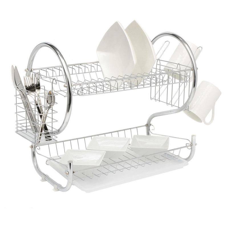 2-Tier Dish Cup Drying Rack Kitchen Tool Drainer Dryer Tray Dish Holder Organizer