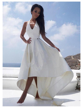 High-low Wedding Dress 2019 Simple A Line Satin Bridal Dress Halter Neck Sexy Romantic High Low Wedding Gowns halter neck overlap high low hem dress