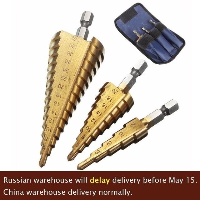 3pc Hss Step Cone Taper Drill Bit Set Hole Cutter Metric 4-12/20/32mm 1/4″ Titanium Coated Metal Hex Bits