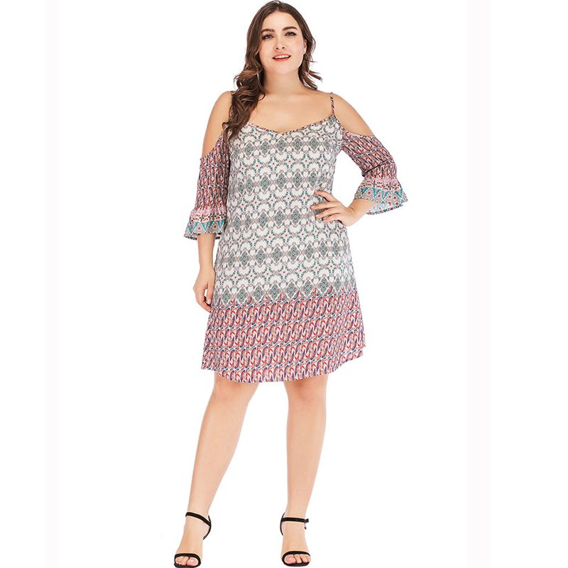 Women Midi Dresses Casual Strapless Elegant Travel Boho Beach Aline Plus Size 4XL Floral Print Summer Female Fashion Sexy Dress