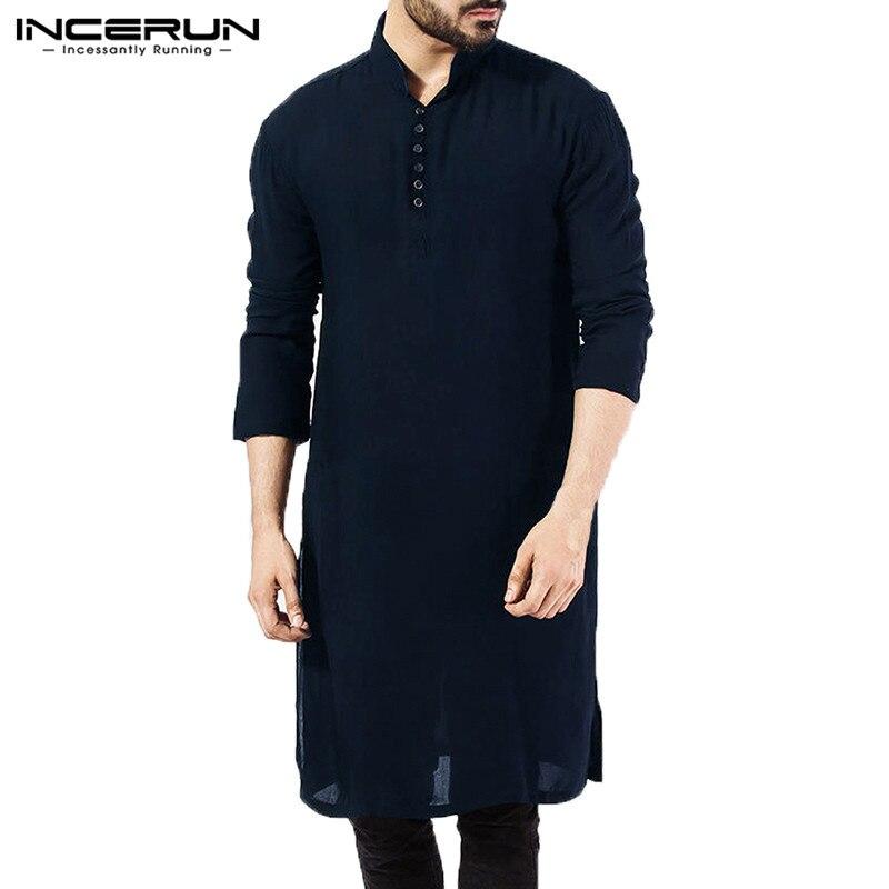 9d32109f8b62fb NEW Mens Dress Shirts Long Sleeve Oversized Kurta Islamic Clothing Chemise Elegant  Tops Masculina Pakistani Indian Man Clothes-in Casual Shirts from Men s ...