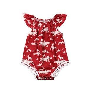 Boże narodzenie noworodka maluch niemowlę dziecko dziewczyny Cartoon renifer drukowane kombinezon Romper ubrania strój 0-24 M nowy rok boże narodzenie prezenty