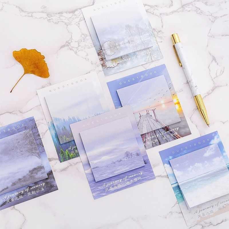 30 יח'\חבילה Creative דביק הערות מתכנן מדבקות בצבע דביק תזכיר Pad גיליונות חמוד משרד קישוט פנקס 02111