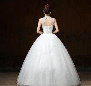 Image 2 - Бальное платье Свадебные платья с аппликацией без рукавов с высоким воротником Свадебные платья на шнуровке с бисером элегантные кружевные свадебные платья Robe De Mariee