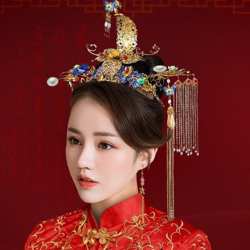 T10 Chinois Style coiffure pour future mariée Cloisonné Ensembles De Bijoux De Mariage De Paon Danse Mariée Phoenix Couronne Glands Épingle Boucle D'oreille