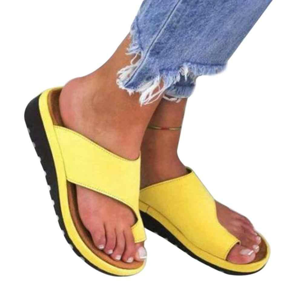 Frauen Comfy Plain Schuhe Flache Plattform Damen Romes Casual Flip Flop Big Toe Fuß Korrektur Sandalen Orthopädische Bunion Corrector