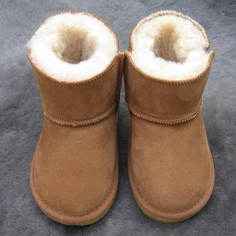 Australia Baby Girls Boots Winter Sheep Skin Leather And Fur Baby Botas Waterproof Infant Wool Boots Boys Bootie Shoes 12cm-19cm