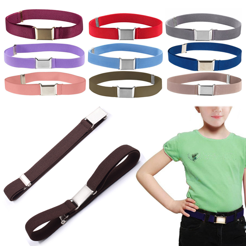 About60-80cm Girls Canvas Adjustable For Boys Kids Solid Gifts Elastic Children's Belts Boys Christmas Gifts 1PC Alloy Buckle