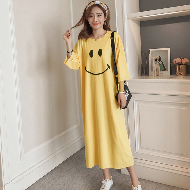 #4951 Summer Korean Fashion Cotton T Shirt Dress Women Plus Size Yellow White Short Sleeve Night Dress Cartoon Print Funny Tide
