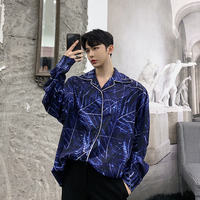 2019 Spring Printing Geometry Pattern Cotton Long Sleeve Men Blue Loose Shirt Fashion Chiffon Turn Down Collar Male Shirts