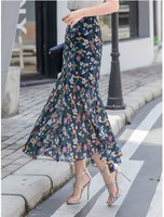 2019 Casual Women Floral Print Ankle Length Skirts Chiffon Ruffles Long Skirts High Waist Plus Size Bohemian Skirts