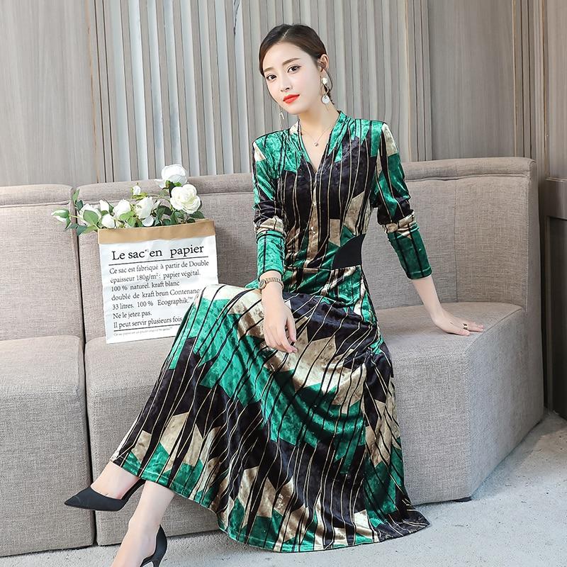 Posée 1821 Pleine 2019 Nouveau Luxe Manches De Slim Robe Femmes Lumière Printemps Robes Vert Velours Rouge Z8Iq8wp