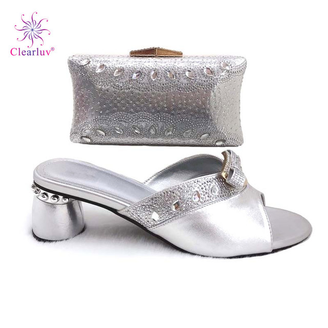 Latest silver Color African Matching Shoes and Bags Italian In Women Party  Shoes and Bag Set Women Shoes and Bag Set In Italy 566b98d32151