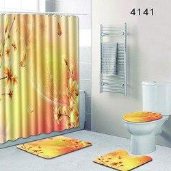 Prysznic zestaw zasłon 4 sztuk Fantasy kwiaty wodoodporna łazienka mata akcesoria toaletowe dywan maty do kąpieli najlepiej sprzedający się 2018 produktów