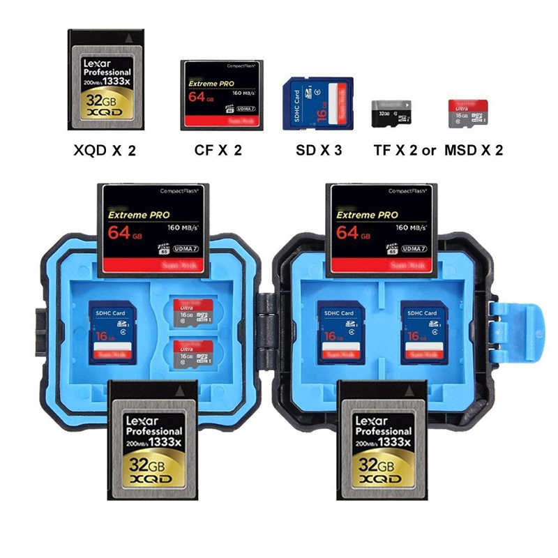 9 slotów aparat PULUZ pamięć XQD CF TF stojak na karty micro sd schowek na pojemnik wodoodporny