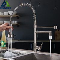 Chrome Spring Pull Down Kitchen Sink Faucet Single Handle Hot & Cold Water Mixer Crane Tap with Dual Spout Deck Mounted