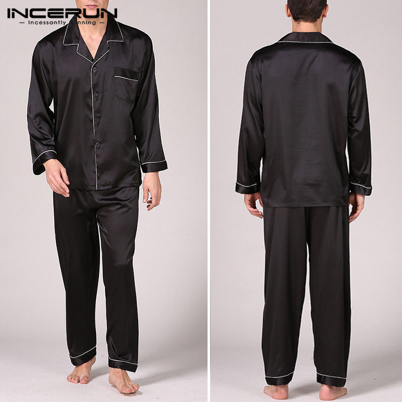 Robe Pajama-Set Nightgown Pant Stain-Silk Sleepwear Men's Autumn Tops Sexy