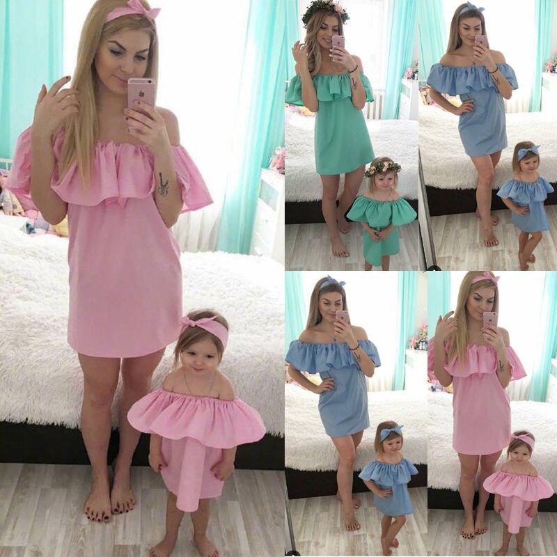 584b04e67 2 piezas hirigin vestidos de la hija de madre moda sólidos para mamá me ropa  familia
