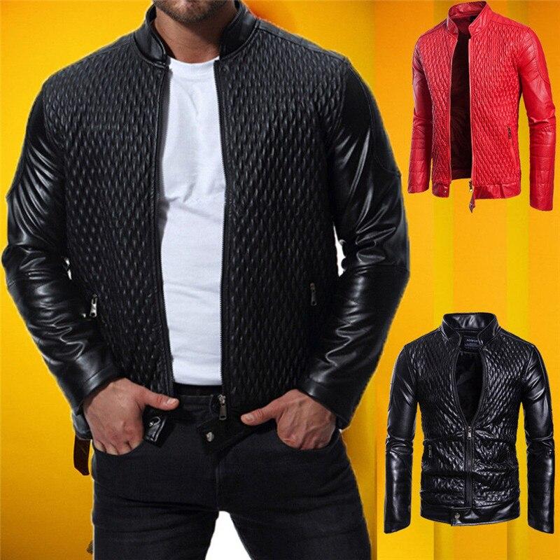 New Men's Genuine Lambskin Leather Jacket Black Red Slim fit Biker Motorcycle Biker Rhombus Bomber Jacket Fashion Zipper Outwear