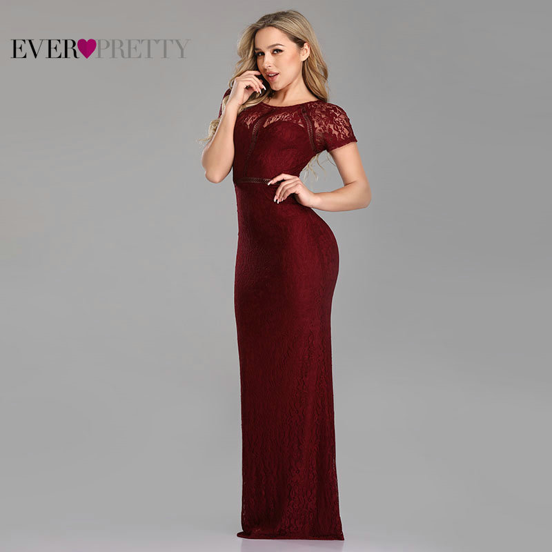 Prom Dresses Plus Size Long 2020 Sexy Full Lace Short Sleeve O-neck Mermaid Party Gowns Ever Pretty Burgundy Vestido De Gala
